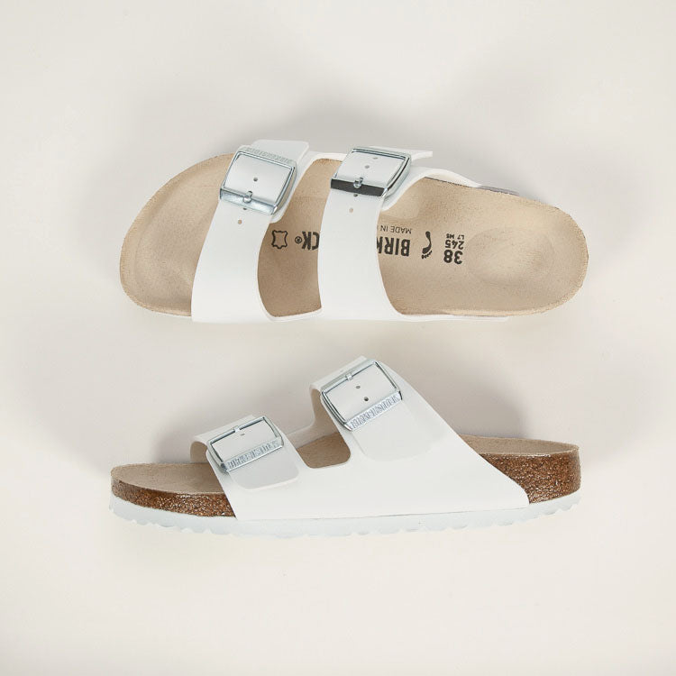 Product shot: Birkenstock Arizona White Narrow Sandals - shot from above