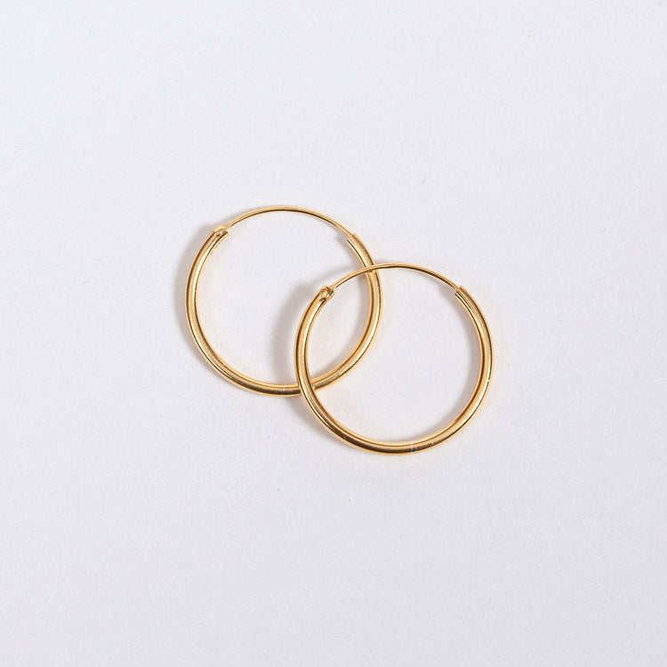 Pernille Corydon Gold Plated Mini Plain Hoop Earrings 20mm