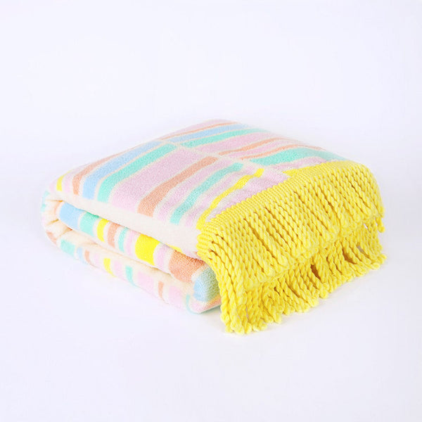 Chevron Daze Fringed Beach Towel - composed of soft cotton with a colourful chevron design. Exclusively designed by Roo's Beach UK