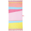 Roo's Beach Eternal Summer Fringed Beach Towel – a colourful, heavy cotton towel with a colour blocked design and pink bullion fringing trim