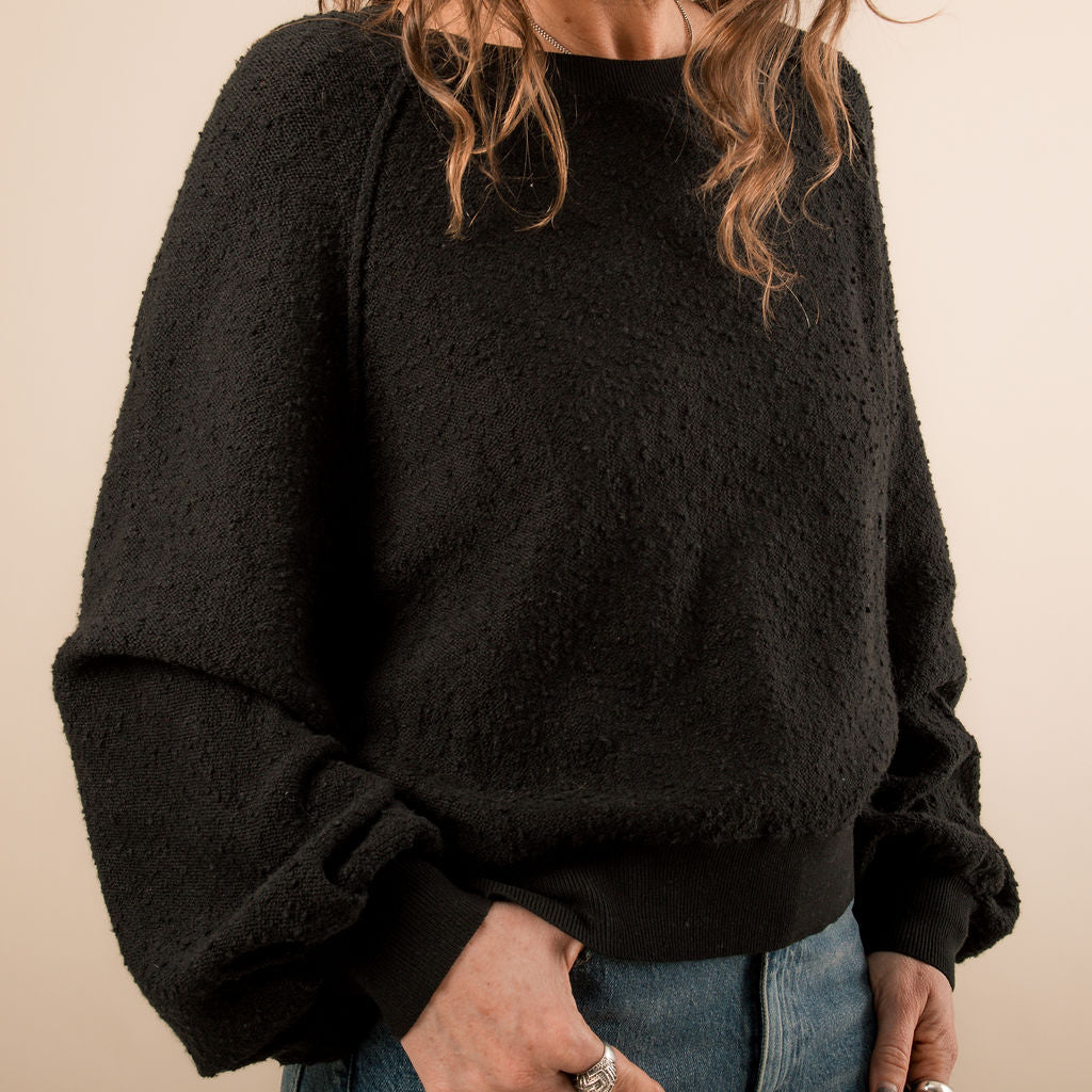 Free People Found My Friend Black Sweatshirt