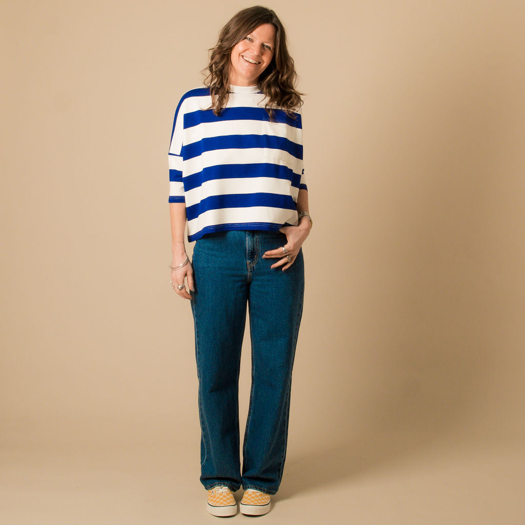 L.F. Markey Winston Cobalt Striped Tee