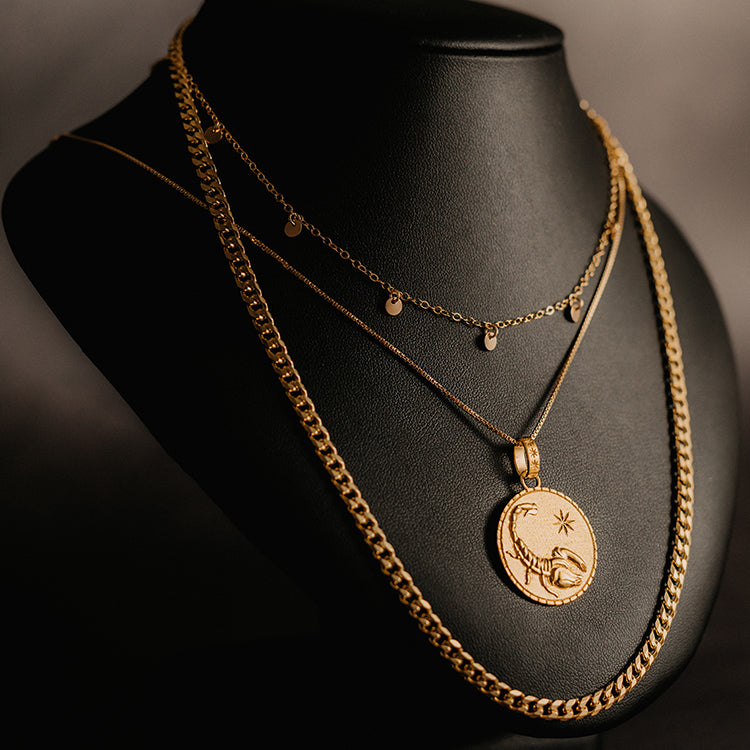 Rachel Jackson Statement Scorpio Zodiac Art Coin Short Gold Necklace