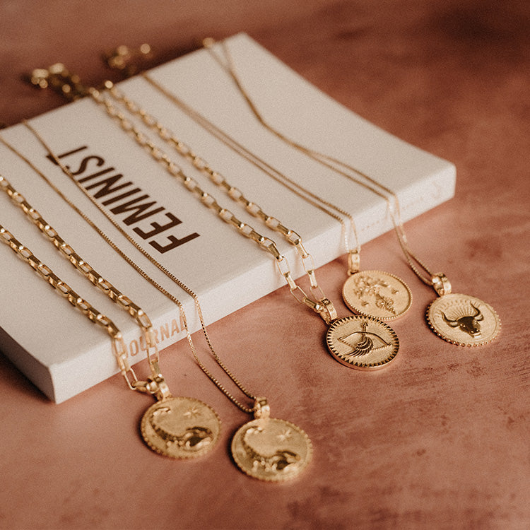 Rachel Jackson Statement Aquarius Zodiac Art Coin Short Gold Necklace