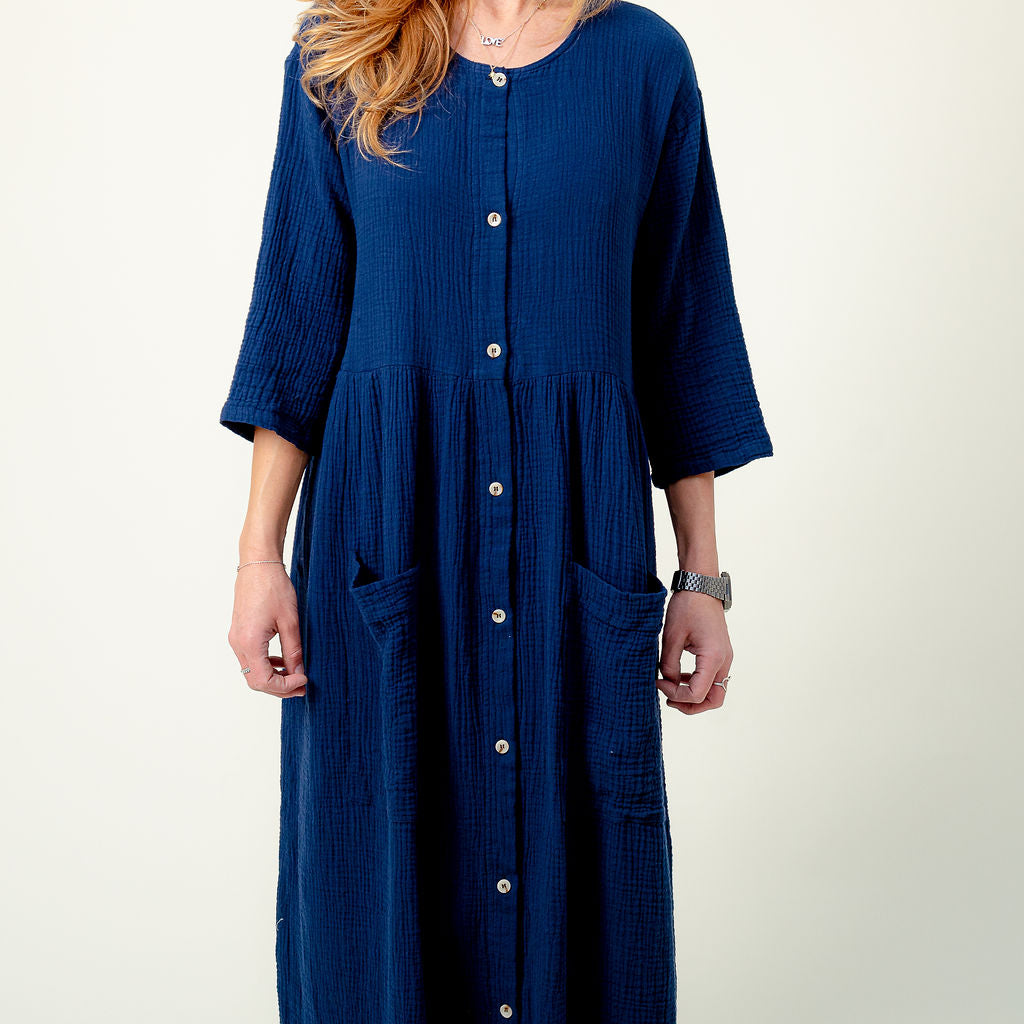 L.F. Markey Navy Voile Sammy Dress