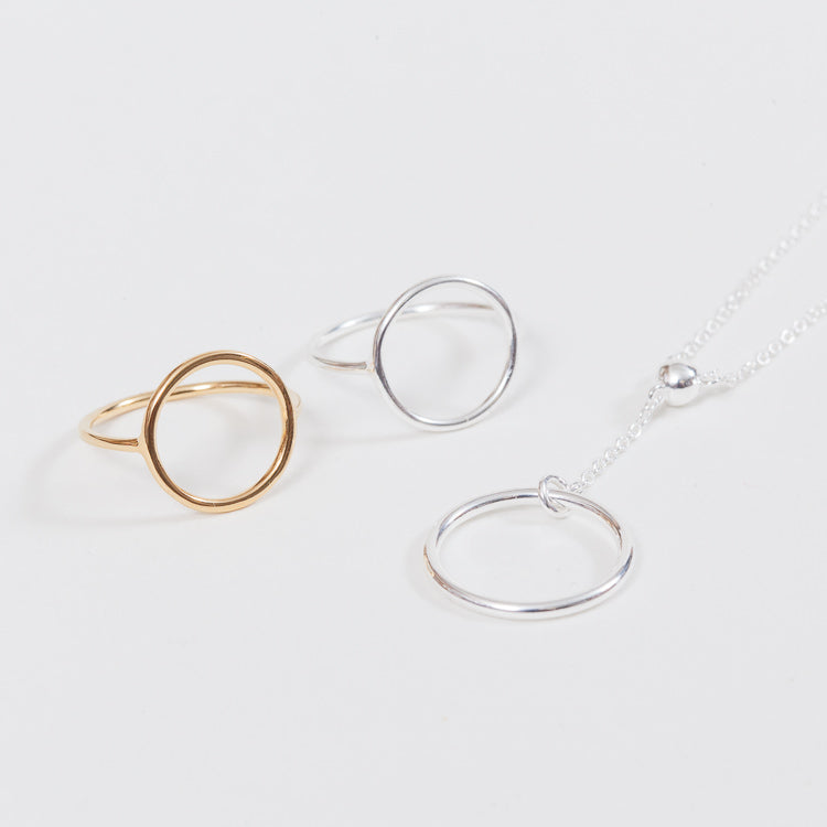 A selection of Pernille Corydon geometric style jewellery available from Roo's Beach UK