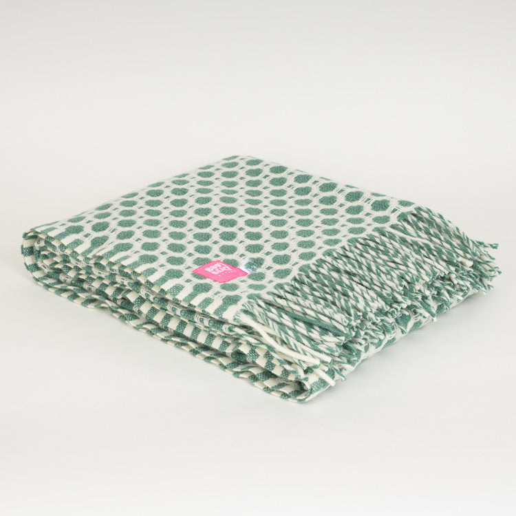 Lifestyle Crossroads Sea Green Wool Throw
