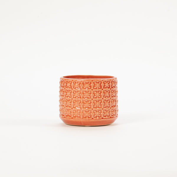 Product shot: Bloomingville Small Orange Textured Stoneware Flowerpot