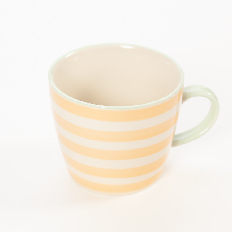 Product shot, from above: Bloomingville Miami Orange Stripe Stoneware Mug