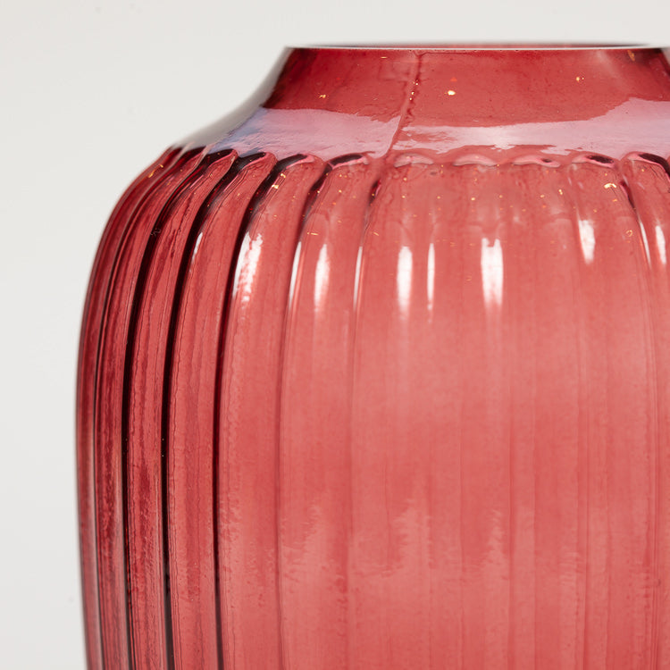 Detail shot of Bloomingville Red Glass Vase