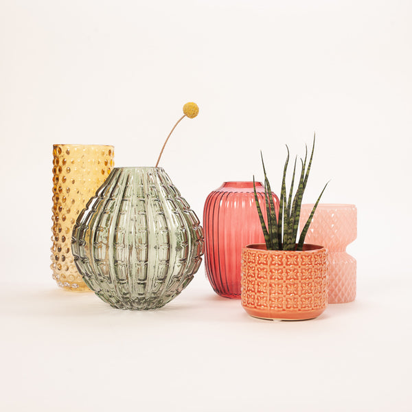 A colourful group of ceramic and Glass Vases designed by Bloomingville