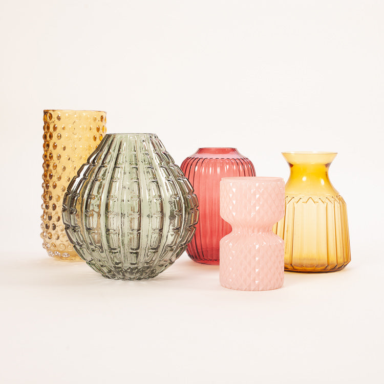 Group shot of colourful Bloomingville Glass Vases