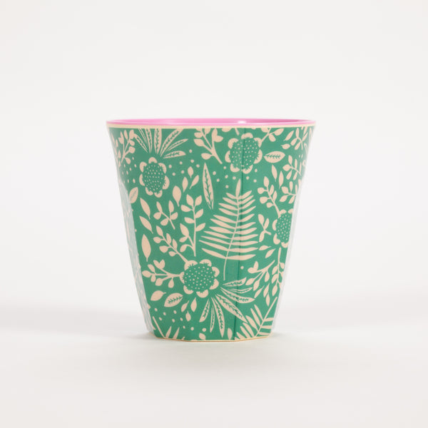 Product shot of Rice Medium Pink & Green Two Tone Fern Print Cup