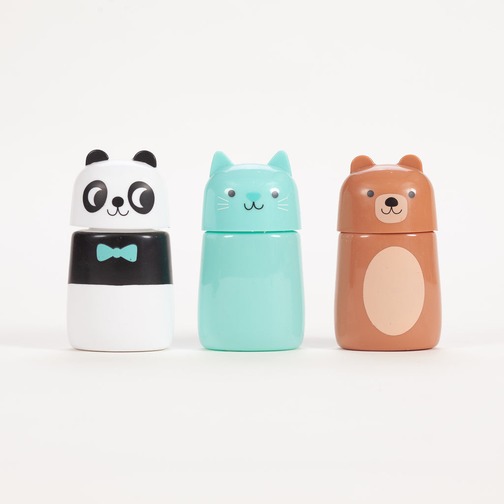 Product shot of 3 animal bubbles - Panda, cat & bear bubbles