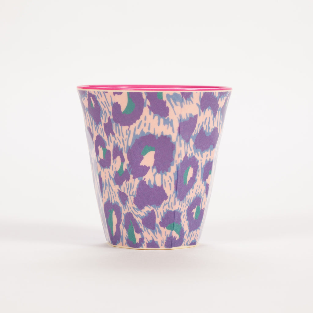 Product shot of Rice Medium Purple & Pink Two Tone Leopard Print Cup
