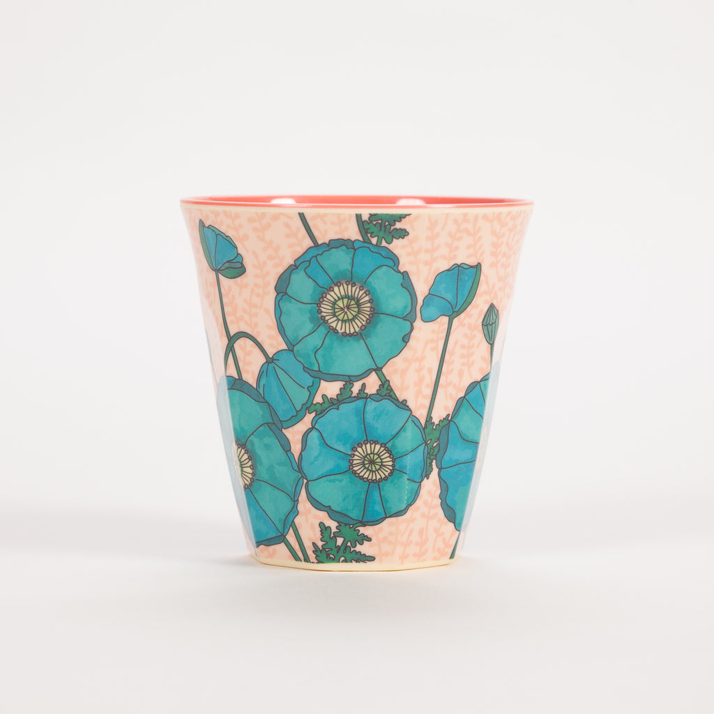 Product shot of Rice Medium Pink And Blue Poppy Print Cup