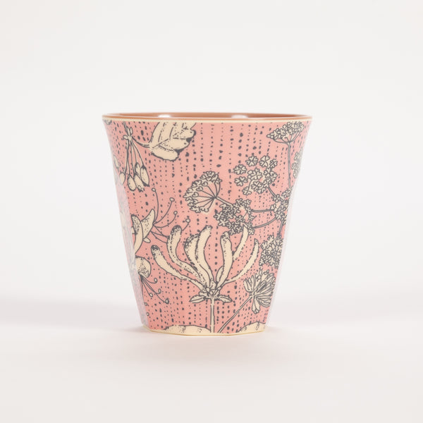 Product shot of Rice Medium Pink Two Tone Wild Chervil Print Cup