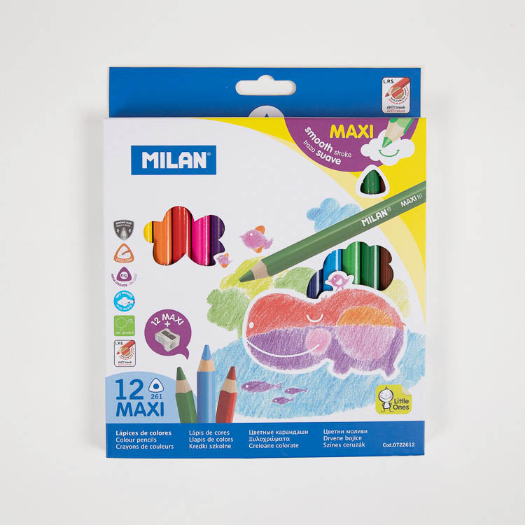 Milan Maxi Triangular Coloured Pencils 12 Pack