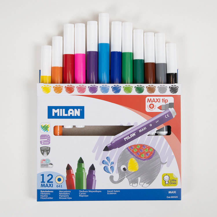 Milan Maxi Water Based Fibrepens 12 pack