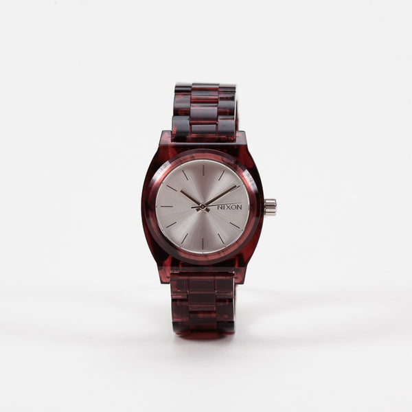 Product shot of Nixon Red Medium Time Teller Acetate Watch