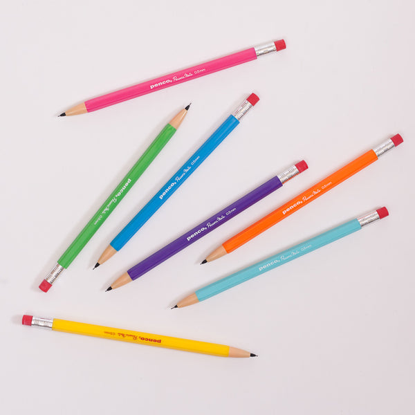 Product shot: 7 Penco Passers Mate 0.5mm Pencils scattered on a white background
