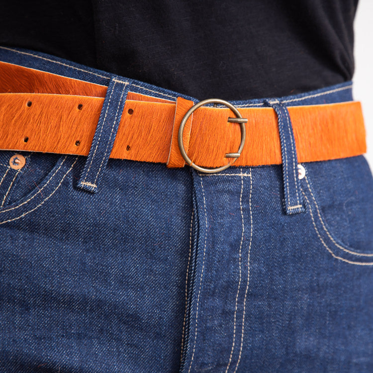 Bellerose Selya Piment Orange Leather Belt - close up