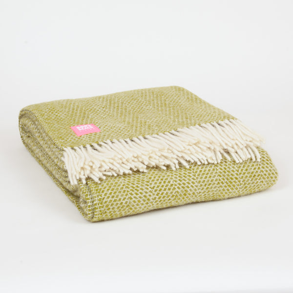 Product shot: Lifestyle Beehive Kiwi Green Wool Throw
