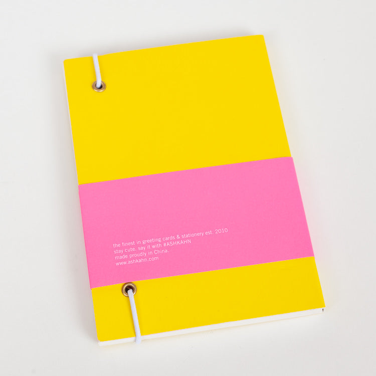 Product shot: Ashkahn A6 Yellow Notebook, back cover