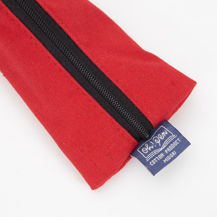 Midori Red Canvas Pencase - detailed view