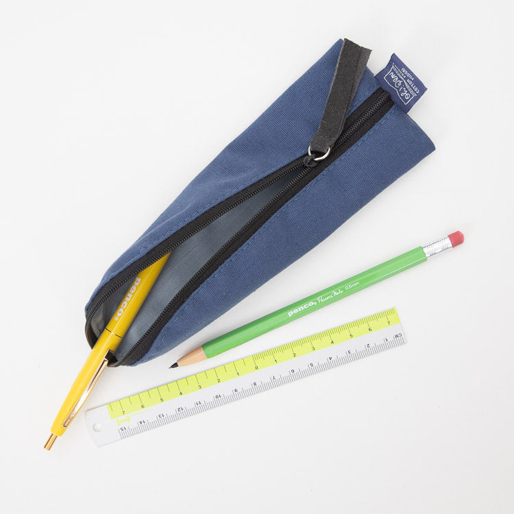 Midori Navy Canvas Pencase - open top view