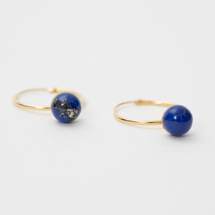 Pernille Corydon Lapis Lazuli Hoop Gold Earrings - detailed view