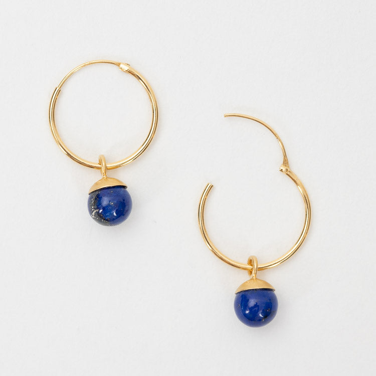 Pernille Corydon Lapis Lazuli Hoop Gold Earrings - top view