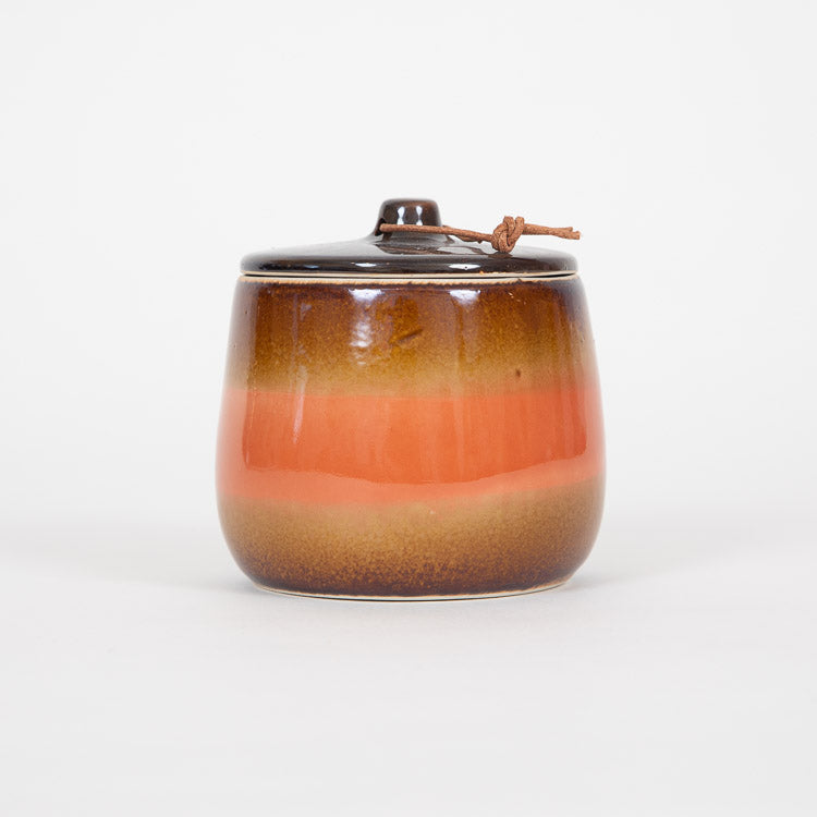 Bloomingville Orange Stoneware Jar and Lid