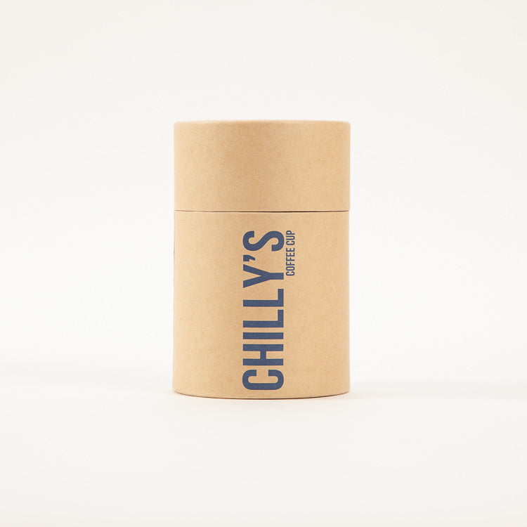 Product shot of the cardboard packaging of the Chilly's Coffee Cup Matt Blue 340ml