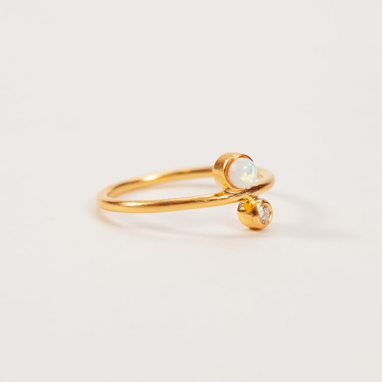 Product shot: Pernille Corydon Sirius Diamond & Opal Gold Ring