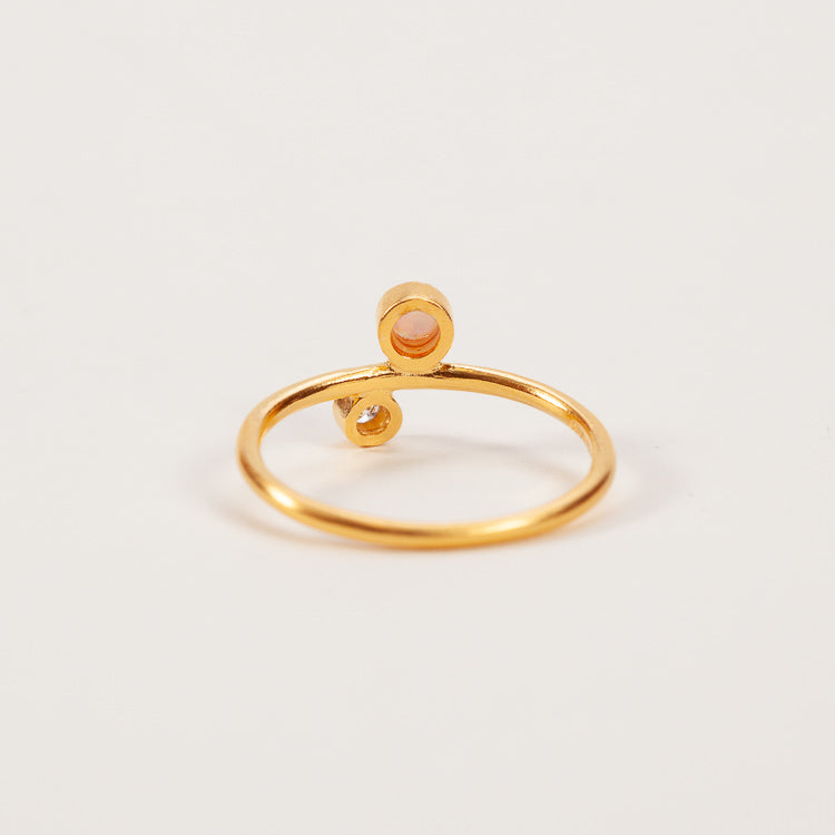 Product shot: Pernille Corydon Sirius Diamond & Opal Gold Ring - back view