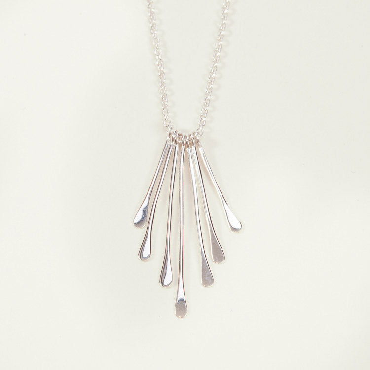 Detail shot of the Pernille Corydon Waterfall Silver Necklace