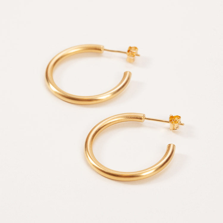 Product shot: Pernille Corydon Gold Gamma Hoop Earrings
