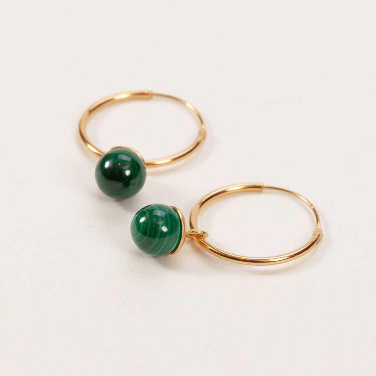 Product shot: Pernille Corydon Malachite Hoop Gold Earrings