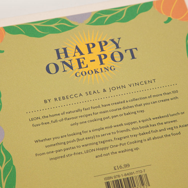 Product shot: Leon: Happy One Pot Cooking Book, back cover detail