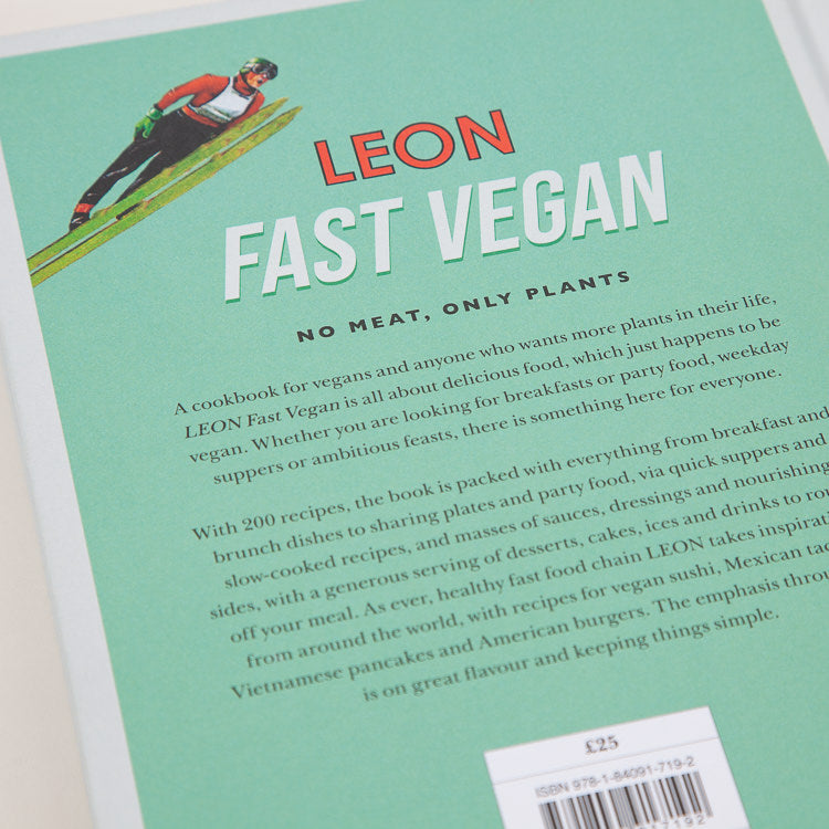 Product shot: Leon: Fast Vegan CookBook, back cover detail