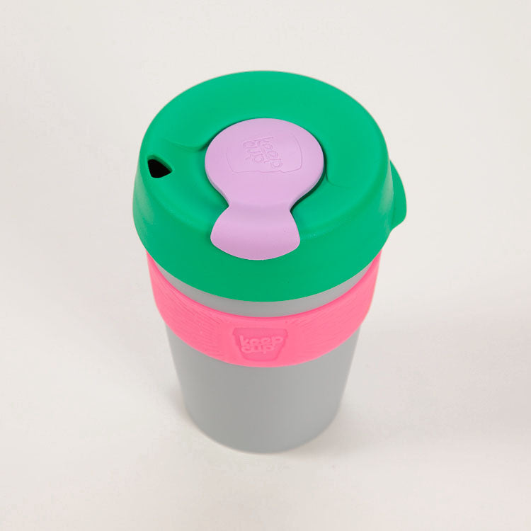 Product shot: KeepCup Sonic Reusable Travel Cup 340ml, shot from above