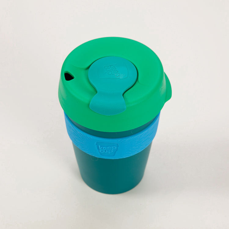 Product shot: KeepCup Eddy Reusable Travel Cup 340ml, shot from above