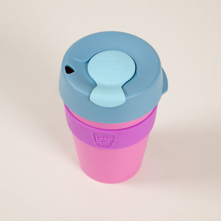 Product shot: KeepCup Bubblegum Candy Reusable Travel Cup 340ml, shot from above