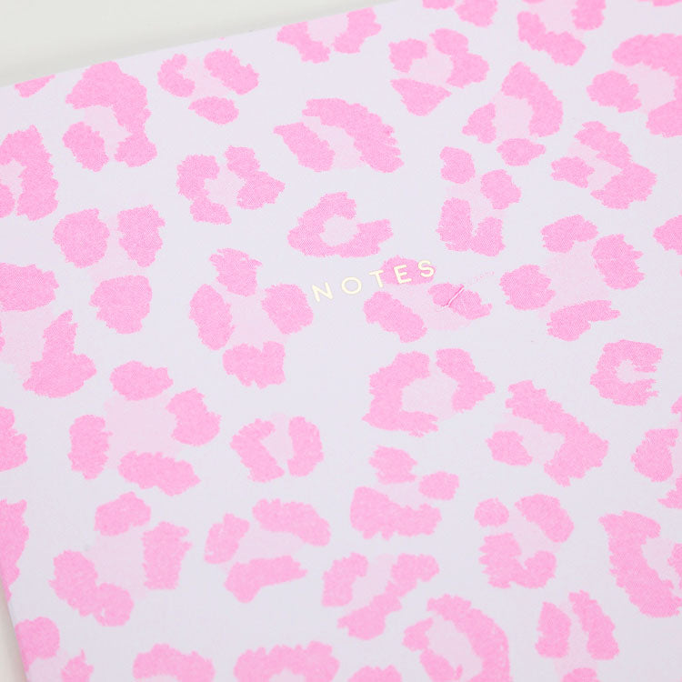 Product shot:Ohh Deer Pink Leopard Riso A4 Notebook, front cover detail