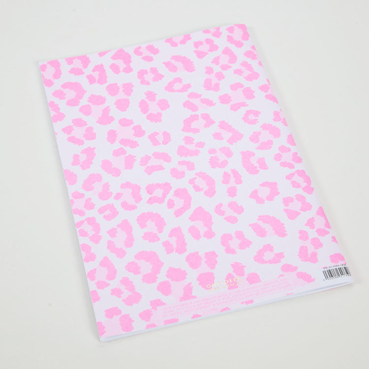 Product shot:Ohh Deer Pink Leopard Riso A4 Notebook, back cover