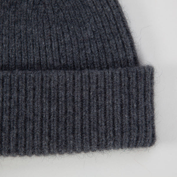 Detail shot of the Le Bonnet Slate Grey Beanie Hat