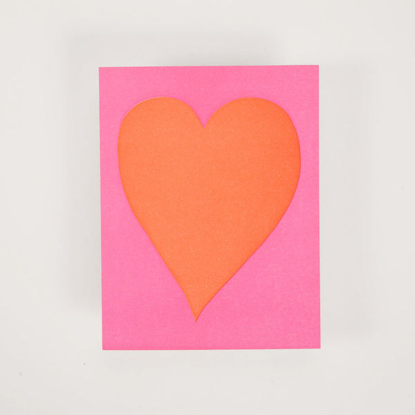 Product shot: Ashkahn Neon Heart Greetings Card