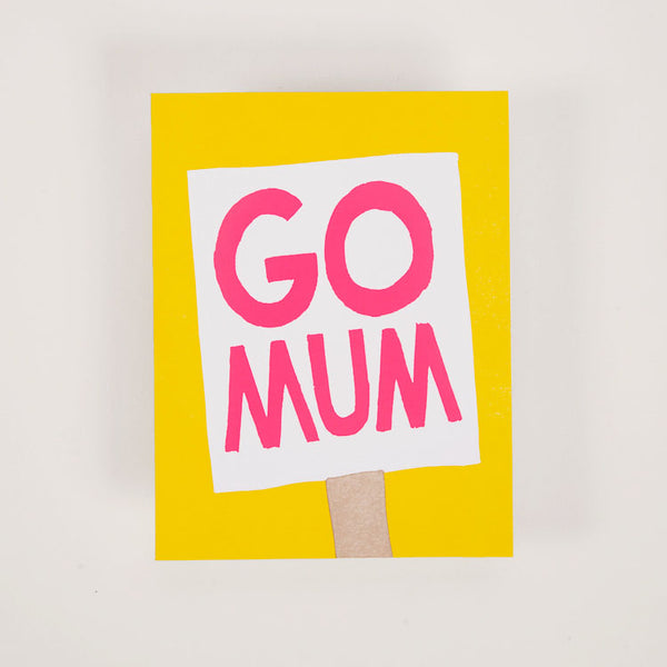 Product shot: 1973 Go Mum Banner Greetings Card