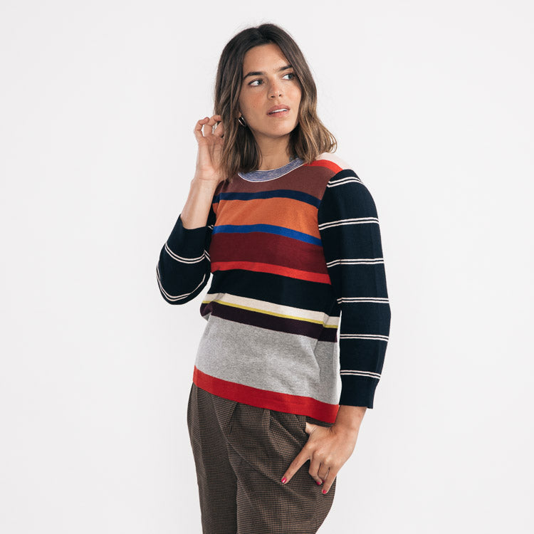 Model wears the Bellerose Gops Stripe Jumper - close up